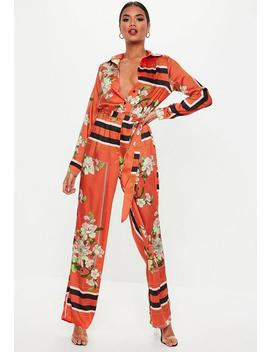 Red Floral Print Wide Leg Jumpsuit by Missguided