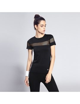 Summer Style Fitness Women Sports T Shirt Running Short Sleeve Quick Dry Breathable Gym Sexy Hollow Nylon Sportswear Tops by Binand