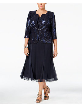 Plus Size Sequined Chiffon Dress And Jacket by Alex Evenings
