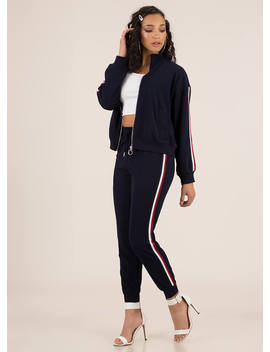 Running Time Striped Track Pant Joggers by Go Jane