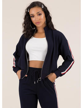 Running Time Striped Track Jacket by Go Jane