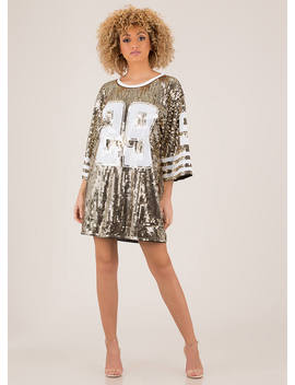 Football Friday Sequined Jersey Dress by Go Jane
