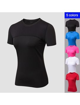 Yd 2018 O Neck Top Female T Shirt Sport Breathable Top Fitness Women Qickly Dry Yoga Shirt High Elastic Short Sleeve Gym Sports by Ali Express
