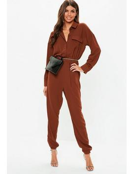 Chocolate Utility Jumpsuit by Missguided
