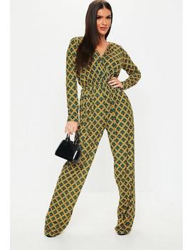 Tall Green Print Wide Leg Jumpsuit by Missguided