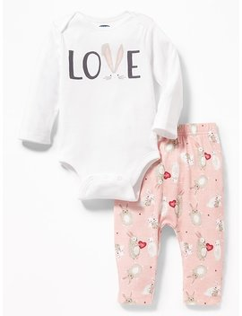2 Piece Graphic Bodysuit & Leggings Set For Baby by Old Navy