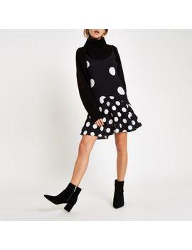 Black Polka Dot Frill Hem Slip Dress by River Island
