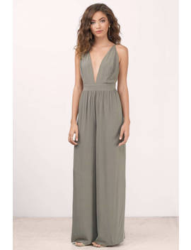 Hold You Olive Plunging Jumpsuit by Tobi