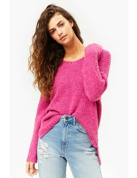 Purl Knit V Neck High Low Jumper by Forever 21