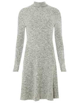 **Tall Grey Button Cuff Skater Dress by Dorothy Perkins