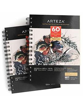 """Arteza 5.5x8.5"""" Mixed Media Sketch Book, 2 Pack, 110lb/180gsm, 120 Sheets (Acid Free, Micro Perforated), Spiral Bound Pad, Ideal For Wet And Dry Media, Sketching, Drawing, And Painting by Arteza"""