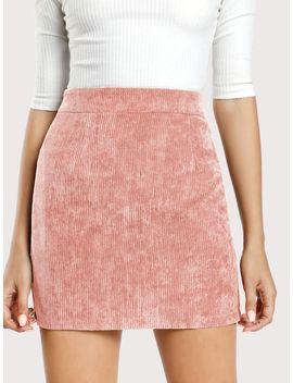 Zip Back Corduroy Bodycon Skirt by Shein