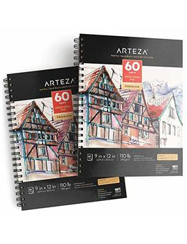 """Arteza 9x12"""" Mixed Media Sketch Pad, 2 Pack, 110lb/180gsm, 120 Sheets (Acid Free, Micro Perforated), Spiral Bound Pad, Ideal For Wet And Dry Media, Sketching, Drawing, And Painting by Arteza"""