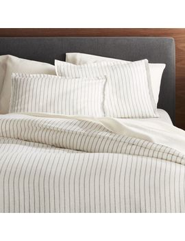 Linen Wide Stripe Warm White Duvet Covers And Pillow Shams by Crate&Barrel