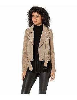 Real Suede Moto Jacket In French Taupe by Blank Nyc