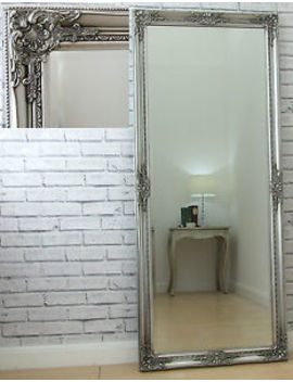 "Eton Silver Extra Large Shabby Chic Full Length Leaner Floor Wall Mirror 62""X27"" by Ebay Seller"