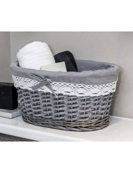 New Grey Round Laundry Rattan Wicker Baskets Bin Bedroom Hallway Storage Shabby by Ebay Seller