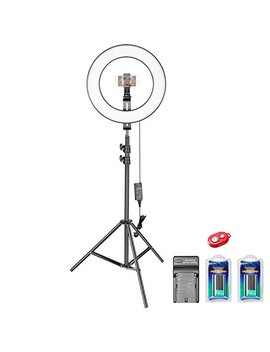 Neewer 14 Inch Outer Dimmable Bi Color Smd Led Ring Light Lighting Kit For Smartphone Video Shooting With (1)Light Stand,(1)Ball Head,(1)Phone Holder,(2)Li Ion Battery,(1)Charger,(1)Bluetooth Receiver by Neewer