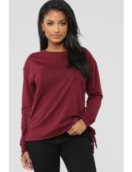 Chloe Side Lace Up Sweatshirt   Burgundy by Fashion Nova