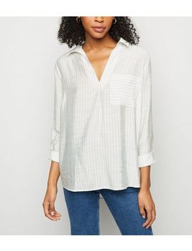 Blue Pinstripe Pocket Front Overhead Shirt by New Look