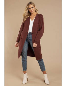 Free People Irreplaceable Plum Longline Cardigan by Tobi