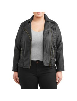 Women's Plus Size Scrunched Contrast Zip Jacket by New Look