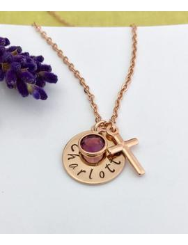 Hand Stamped Necklace Name Necklace Birthstone Necklace Cross Charm Rose Gold Tone Personalised Gift Uk Seller by Etsy