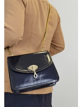 Vintage Patent Leather Shoulder Bag Blue Gold Chain Strap by Suzy Smith
