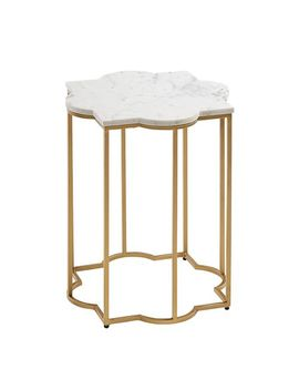 Quatra White & Gold Marble Accent Table by Pier1 Imports