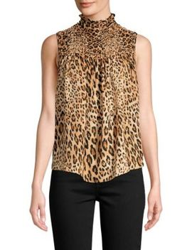 Smocked Sleeveless Cheetah Print Chiffon Blouse by Frame