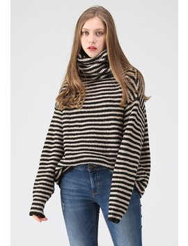 Show Me More Stripes Turtleneck Sweater by Chicwish
