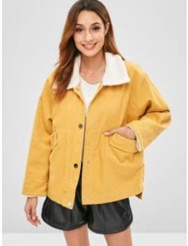 Zaful Snap Button Plain Corduroy Coat   Sun Yellow Xl by Zaful