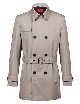 Slim Fit Trenchcoat In Water Repellent Technical Fabric by Boss