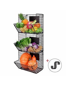 Merya Metal Wire Basket Wall Mount, 3 Tier Wall Storage Basket Organizer With Hanging Hooks Chalkboards, Rustic Kitchen Bin Rack Bathroom Tower Basket by Merya