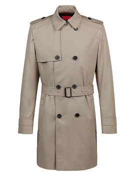 Double Breasted Trench Coat With Water Repellent Outer by Boss