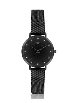 Matte Black Mesh Chain Link Watch by Victoria Walls