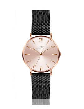 Black & Rose Gold Tone Mesh Watch by Victoria Walls