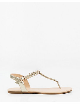 Jewel Embellished Floral Thong Sandal by Le Chateau