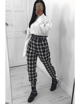 Black White Check Frill Detail Trousers   Bristal by Rebellious Fashion