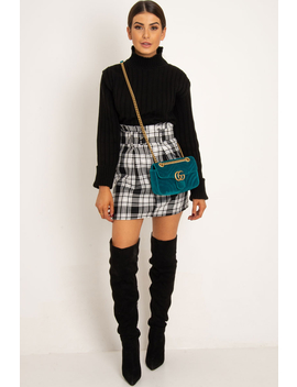 White Black Check Belted Pleated Mini Skirt   Danyka by Rebellious Fashion