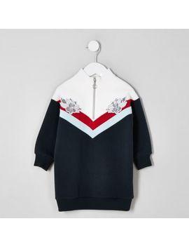 Mini Girls Navy Chevron Zip Jumper Dress by River Island