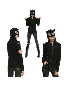 Royal Bones Tripp Stitched Kitty Cat Costume Hoodie Cosplay Ears Mask Catwoman by Royal Bones By Tripp