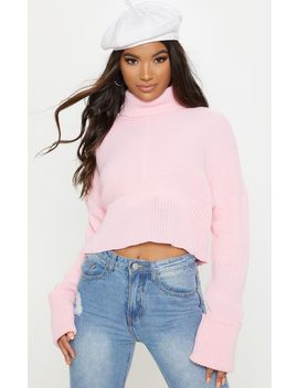 Pink Chunky Ribbed High Neck Knitted Jumper by Prettylittlething