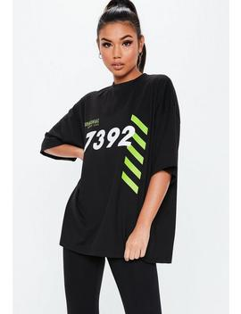 Black Oversized Graphic Front T Shirt by Missguided