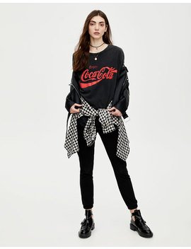 Faded Black Coca Cola T Shirt by Pull & Bear