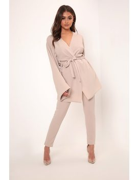 Sand Belted Oversized Sleeve Blazer by I Saw It First
