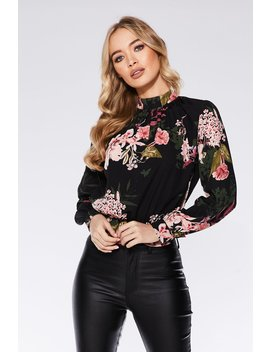 Black And Pink Floral Print High Neck Top by Quiz