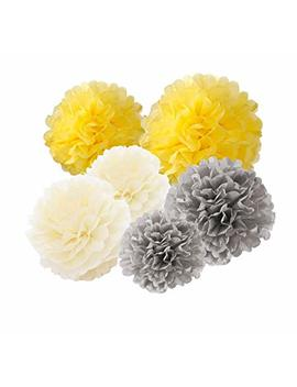 Hanging Tissue Paper Pom Pom 12pcs 10inch 8inch Paper Flowers Rose Hanging Decoration Balls Birthday Baby Shower Wedding Decorations Party Supplies (Grey Yellow Cream) by Furuix