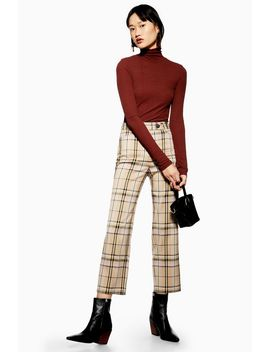 Check Straight Leg Trousers by Topshop