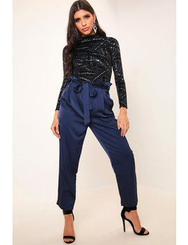 Navy Satin Paperbag Tie Waist Trousers by I Saw It First